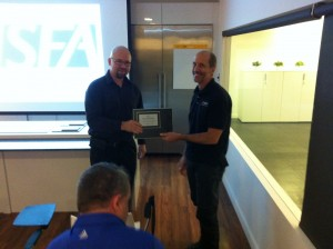 A.S.S.T. President Russ Berry accepts ISFA's Innovator award.