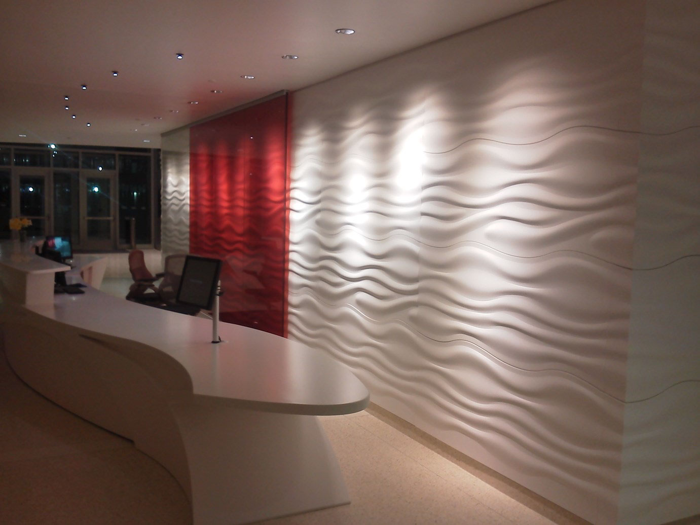 Sculptcor® Textured Thermoform Solid Surface Panels for use as wall panels, column covers, retail facades, elevator cladding, casework, ceiling panels, and furniture.
