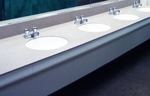 Modular Vanity™ System - Solid Surface Wall-Hung Modular Vanities for Hospitals, Universities, and Other High-Traffic Public Restrooms