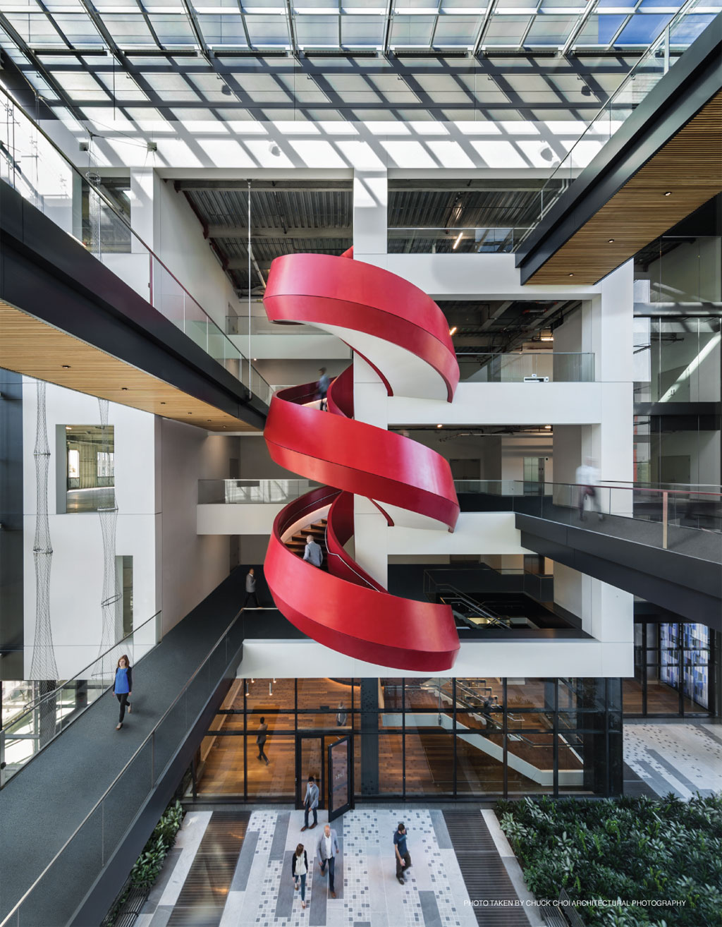 Photo of complex thermoformed spiral staircase fabricated by ASST