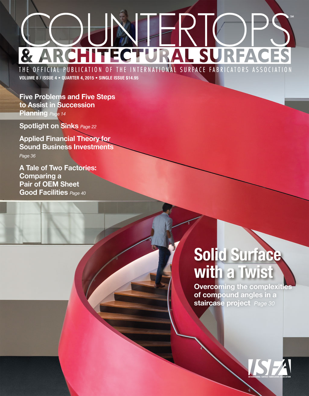 Cover of ISFA Countertops and Architectural Surfaces Magazine featuring ASST's thermoformed spiral staircase project