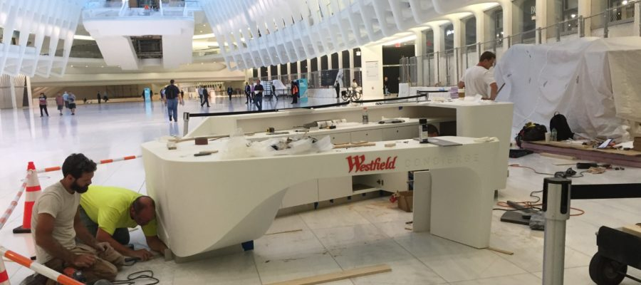 Solid Surface Reception Desk at World Trade Center - NYC