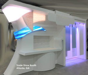 LED Backlight Thermoformed Solid Surface Trade Show Booth