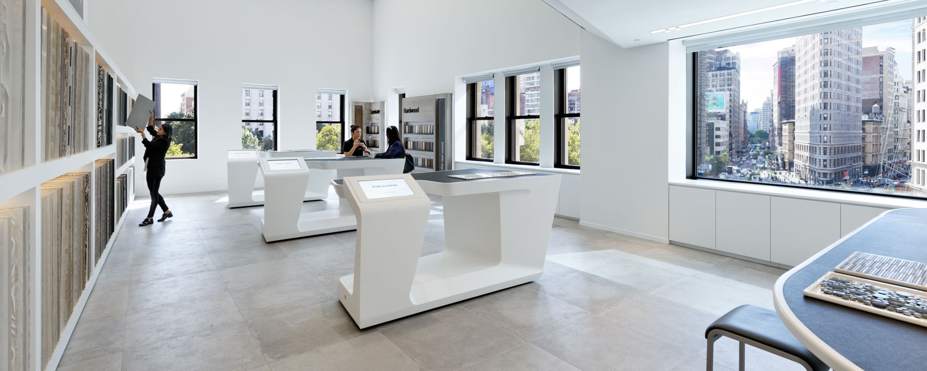 Porcelanosa Showroom, New York City. Thermoformed IPAD display fixtures  Material: Krion Architecture: Foster + Partners