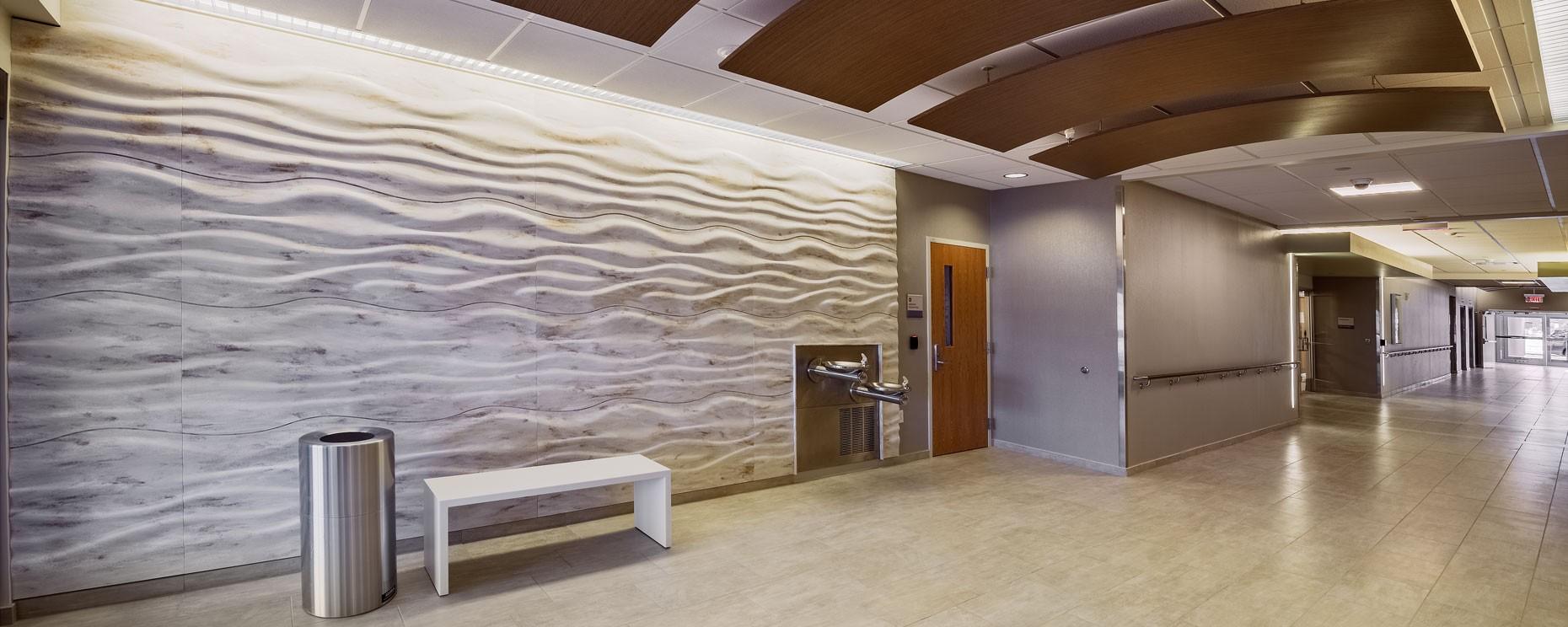 Susquehanna Health, Williamsport, PA. SCULPTCOR ® textured surfaces panels  Material: Corian Architecture: Burkavage Design Associates Product Design: ASST Design Team