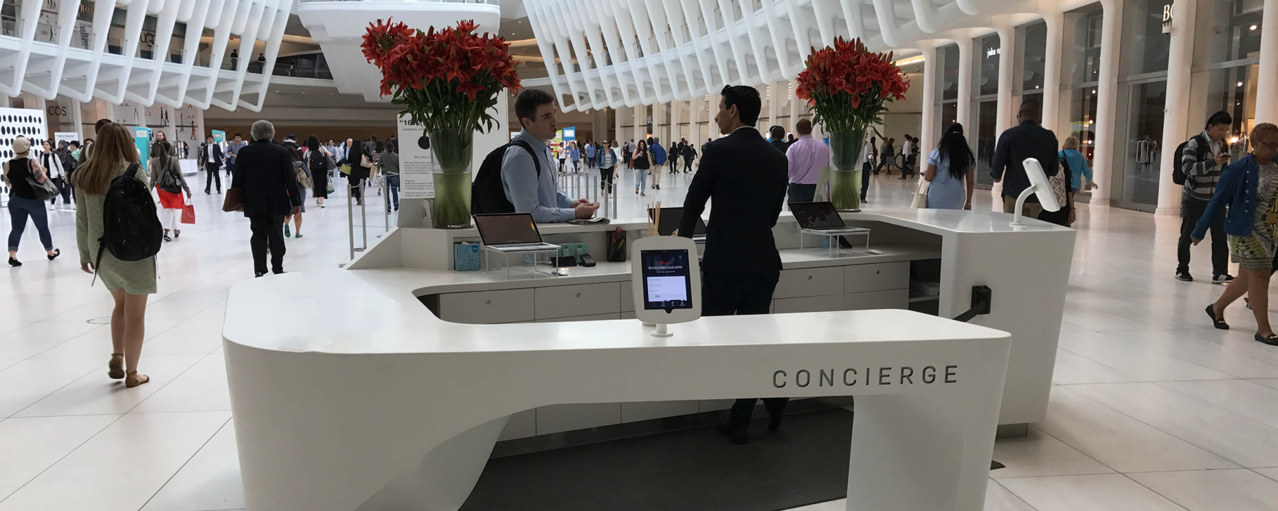 World Trade Center, New York, NY. Solid Surface Thermoformed Concierge Desk Architecture: Ballinger General Contractor: Wesnic