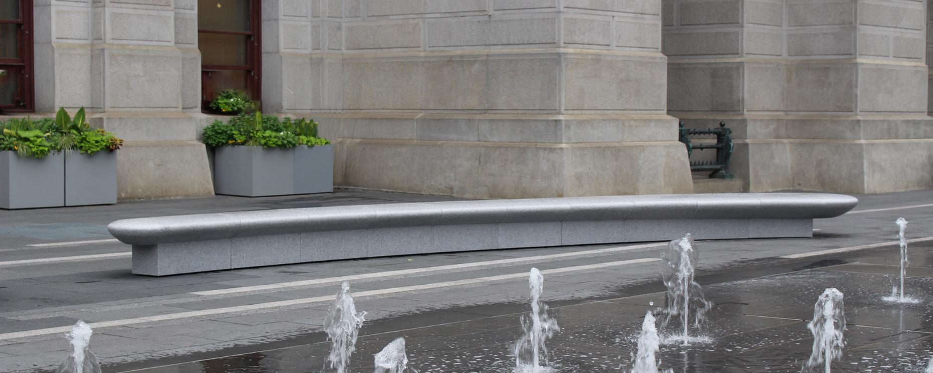 City Park Benches, Philadelphia, PA. Custom Thermoformed Corian Platinum Modular Benches