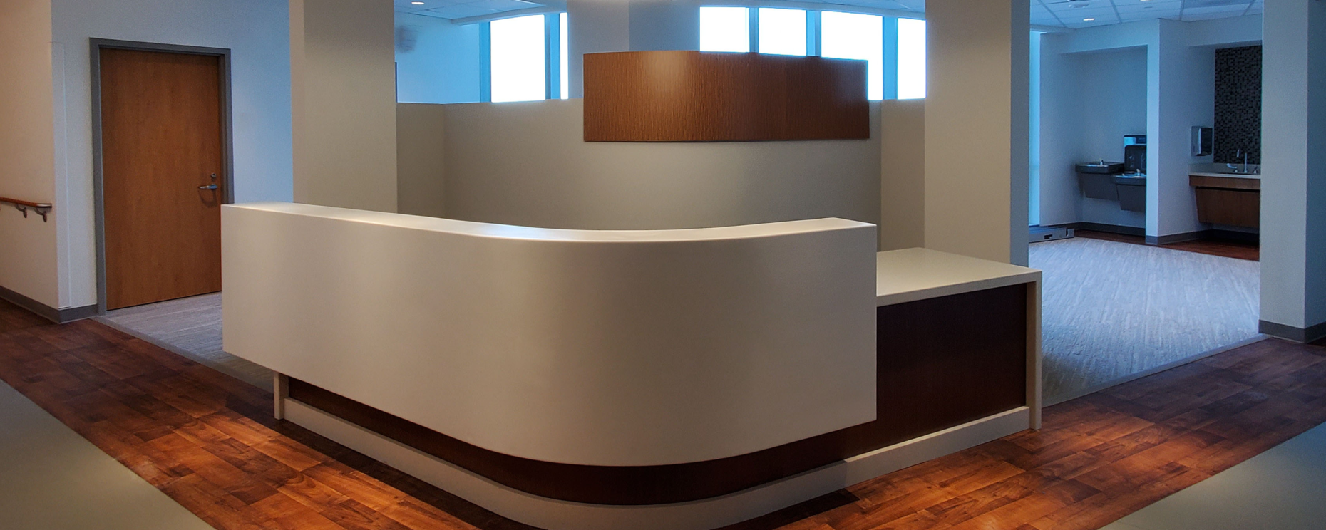 Inova Loudon Hospital North Patient Tower, Leesburg, VA. Nurse's Station Custom Millwork and Solid Surfaces Architecture: HDR General Contractor: DPR Construction