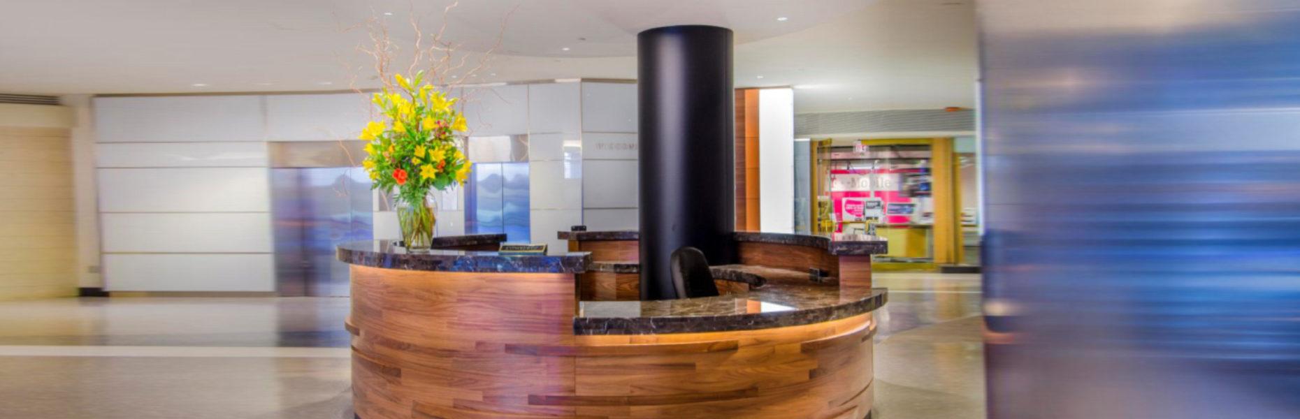 Chevy Chase Pavillion, Chevy Chase, MD. Custom Concierge Desk  Material: Quartz Architect: Streetsense General Contractor: Hitt